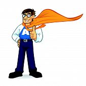 Cartoon Superhero Geeks Businessman