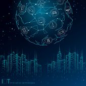 Internet Of Things Low Poly Smart City 3d Wire Mesh. Intelligent Building Automation Iot Concept. Mo poster