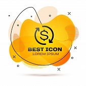 Black Return Of Investment Icon Isolated On White Background. Money Convert Icon. Refund Sign. Dolla poster