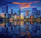 Sunset In Perth City With Building And River , Perth, Australia. This Image Can Use For Travel, City poster