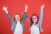 Sincere Cheerful Kids Share Happiness And Love. Girls Funny Big Eyeglasses Cheerful Smile. Birthday  poster