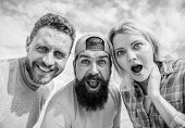 How To Impress People. Shocking Impression. Men With Beard And Woman Looking Shocked. No Way. Friend poster
