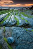 stock photo of basque country  - Beach of Barrika Bizkaia Basque Country Spain - JPG