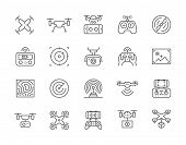 Set Of Drone Line Icons. Remote Controller, Propeller, Action Camera And More. poster
