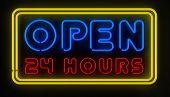 Open 24 Hours Sign
