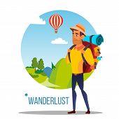 Wanderlust . Adventure Wanderlust Concept. Travel Design. Nature Illustration poster