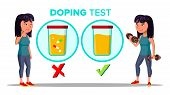 Doping, Drug Test Cartoon Banner Template. Laboratory, Lab Doping Testing Isolated Clipart. Sportswo poster