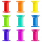 Set of nine stylized columns, pillars isolated