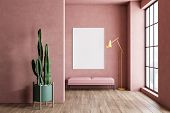 Interior Of Minimalistic Living Room With Pink Walls, Wooden Floor, Large Window, Pink Bench With Ve poster