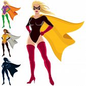 image of female mask  - Female superhero over white background. She is in 4 different versions, one of them is a silhouette. 