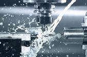 picture of alloy  - Close up of CNC machine at work - JPG