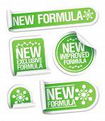 Nuevo conjunto de etiquetas engomadas de la fórmula.