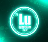 Lutetium Chemical Element. Sign With Atomic Number And Atomic Weight. Chemical Element Of Periodic T poster