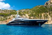 A Luxury Motor Yacht On A Seaside, Forests And Beaches Behind poster