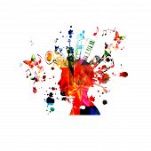 Music Instruments Background With Music Notes. Colorful Double Bell Euphonium, Violoncello, Trumpet, poster