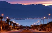 Morning street running to the Red Sea, Eilat