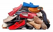 image of loafers  - Pile of various men shoes isolated over white - JPG