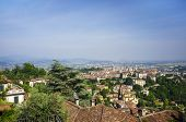 A View oveer Bergamo as seen from the hills of Citta Alta (upper town). Lomberdy, Italy.