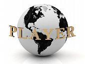 Постер, плакат: Игрок абстрактные надпись вокруг земли