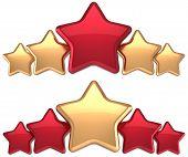 Five stars service gold red golden leadership award success decoration
