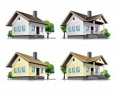 Family houses cartoon icons