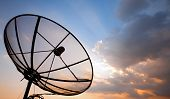 picture of mast  - Big telecommunication satellite dish over sunset sky - JPG