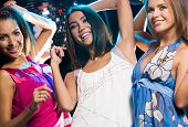 pic of night-club  - Energetic girls dancing at party in night club with joyful expression - JPG