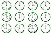 12 clocks isolated on a white background. Each one showing one hour of the day. The odd numbers are