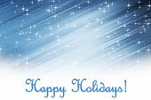 Holiday greetings with blue starry sky