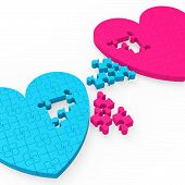 Two 3D Hearts Showing Romantic Gestures