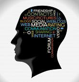 the silhouette of his head with the words on the topic of social networking. Word collage.
