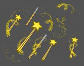 stock photo of faerie  - Magic wand vector set illustration on grey background - JPG