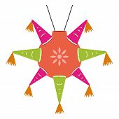 stock photo of pinata  - color mexican pinata shape star for parties - JPG