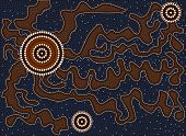 A Illustration Based On Aboriginal Style Of Dot Painting Depicting Tortuous Path