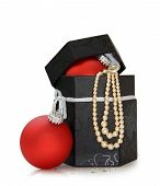 Christmas Jewelry Box Isolated With Clipping Path