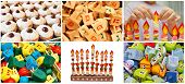 stock photo of dreidel  - hanukkah jewish collage made from six images with donuts dreidels and lights - JPG