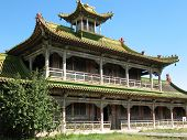 The building of the temple in the territory of Mongolia