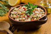 picture of kidney beans  - A rustic bowl of white bean cannellini salad with peppers - JPG