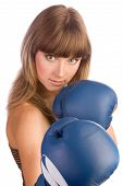 Active Young Female In Blue Boxing Gloves