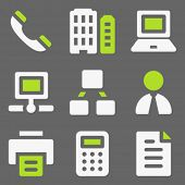 Office web icons, white and green on grey