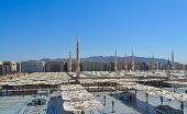 Nabawi Mosque minarets and umbrellas