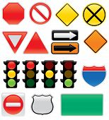 stock photo of traffic light  - A collection of vector traffic signs and symbols - JPG
