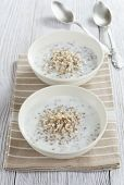 picture of porridge  - Buckwheat porridge with milk in the bowl on the table - JPG