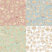Drawn Flowers Seamless pattern
