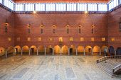 STOCKHOLM - DECEMBER 23: Interior of Blue Hall of the Stockholm City Hall on December 23, 2012 in Stockholm, Sweden. The Blue Hall is the venue of the Nobel Prize banquet.