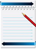 Notepaper With Metallic Ring And Pencil