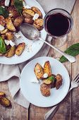 Homemade Rustic Dinner: A Glass Of Wine And A Baked Potato