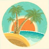 Vintage Exotic Tropical Island With Palms And Sun On Round Symbol.vector Icon On Old Paper Texture