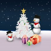 Cute Snowmen with Christmas Tree and Presents