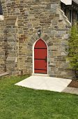 Stone Church With Red Door